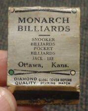 1930s Ottawa Kansas Monarch Billiards parlor matchbook
