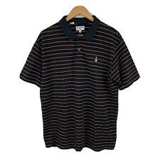 Billabong Mens Polo Shirt Size Medium Black Orange Stripe Short Sleeve