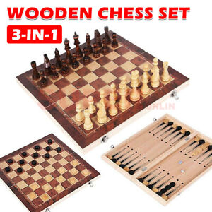 3-IN-1 Wooden Chess Set Board Game Folding Chessboard Chess Backgammon Gift Toy