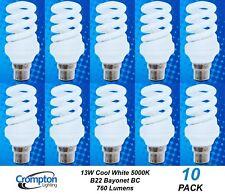 10 x 13W B22 Compact Fluorescent Lamps Globes Bulbs 5000K Cool White CFL Twist