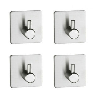 4pcs Self Adhesive Hooks Stainless Steel Hook Strong Sticky Stick on Wall Door