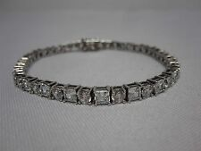"""STUNNING ROUND & SQUARE CZ CUBIC CIRCONIA 8"""" STERLING SILVER TENNIS BRACELET"""