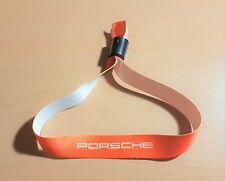Porsche Band Armband Eintrittsband Orange weiße Schrift aus Stoff mit Verschluß