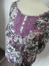 LADIES PURPLE MIX FLORAL PRINT 100% COTTON TOP, MARKS AND SPENCER, SIZE 20, EXC
