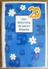 carte de voeux à ANNIVERSAIRE LES Besten Wünsche 20 ans articulé c0196