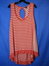 CABLE & GAUGE Coral White Stripes JERSEY KNIT TANK TOP Extreme High-Low SWING XL