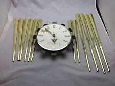 Vintage Spartus Sunburst Wall Clock Retro Mid Century Modern Plastic Metal 4260