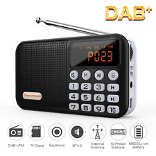Small Portable Rechargeable DAB+ FM Radio W/ Battery 3.5mm BT4.0 Kitchen Garden