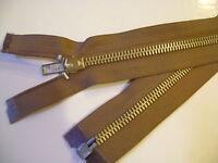 fermeture éclair séparable métal 6 mm col. kaki clair L.55 cm N° 7 E S.étiquette