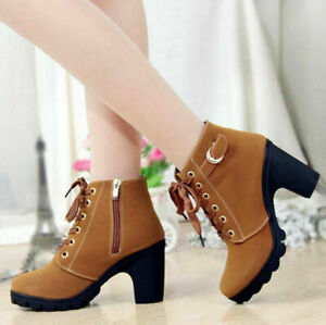 Womens Chunky High Block Heel Boots Casual Roune Toe Lace Up Platform Ankle Shoe