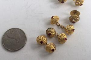 Vintage Formal Cufflinks & Studs Gold Metal Filigree Set Ruby Red Stones