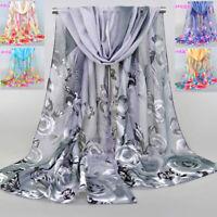 Chiffon Rose Feathers Printed Shawl Ladies Scarf Women Scarves Shawls New