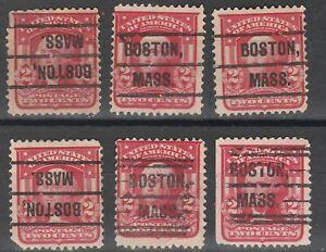 USA Scott #  319   2¢ Shield Boston Massachusetts MA Precancel lot of 6  (319-6)