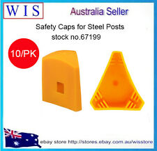 PK of 10 YELLOW STEEL POST CAPS,SAFETY CAPS FOR STEEL POSTS,POST CAPS-67199