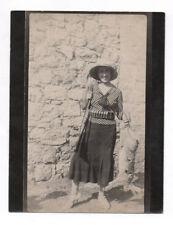 PHOTO ANCIENNE Trophée de Chasse Chasseur 1933 Fusil Lièvre Lapin 1930 Femme