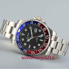 43mm Bliger black dial Sapphire Pepsi GMT Date Automatic Mechanical men's Watch