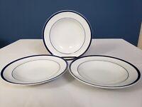"Williams Sonoma Brasserie 9"" White w/ Blue Stripe Soup Bowls Lot Of 3"