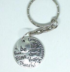 Inspirational Keyring BE BRAVE HAPPY THANKFUL Motivational Gift Keychain
