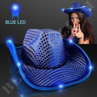 BLUE LED Cowboy Hat with BLUE Sequins - FUN Light Up Cowboy Hat