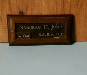 Antique vintage wooden brass office name Plate
