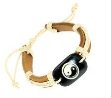 Leather Strap Cord Surf Surfer Wristband Bracelet Yin Yang Motif Pendant