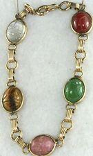 Vtg Gold Filld Scarab Bracelet Chrysoprase Tigers Eye +