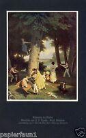 Erholung im Walde Kunstdruck von 1926 Jacques Agasse Genf Picknick Schaukel Kind
