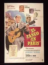 EL TANGO EN PARIS * JORGE VIDAL * ARGENTINE POSTER 1956
