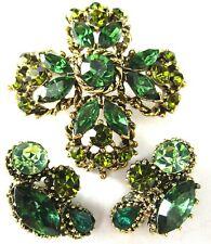 Vintage Pin Earring Set Weiss Gorgeous Green Rhinestone Cross