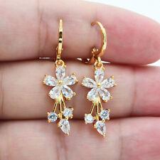 18K Yellow Gold Filled Women Elegant Crystal Flower Topaz Zircon Drop Earrings