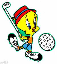"""3.5"""" Looney tunes tweety golfing golf sports fabric applique iron on character"""