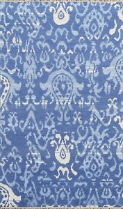 Blue Abstract Oriental Area Rug Wool/ Silk Hand-Knotted 5x8 Contemporary Carpet