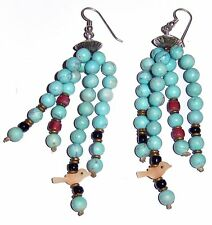 Native American Turquoise Earrings Sterling Silver Coral Onyx MOP Birds 27g