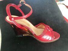 Vtg Acrylic Heel Red Italian Red Heels Peep Toe 7.5 Mid Century Open Toe Leather