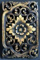 Art Carved Flower Panel Sculpture Wall Wood Handmade Gold Decor Plaque Teak Thai