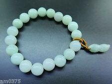 New Fine Chinese Green Jade / Jadeite Lucky Round Bead Peanut Bracelet / 10mm
