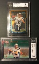 (2) 2000 Bowman Chrome #236 & Metal Emerald #267 Tom Brady Rookie RC Lot BGS 8