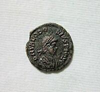 THEODOSIUS I, AE 3. CYZICUS MINT, C. 392-395 AD. EMPEROR ON HORSE-BACK REVERSE.