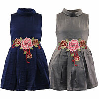 girls flared lined dress kids floral applique patch turtle neck sleeveless party