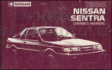 1988 Nissan Sentra Owners Manual Original OEM Owner User Guide Book E SE GXE XE
