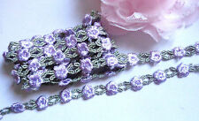 3/8 inch wide lilac/ sage green embroidery lace trim selling by the yard