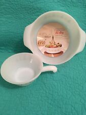 """VTG NWT Fire King""""CANDLE GLOW"""" 1Qt Casserole & Handled Bowl Made In USA"""