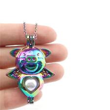 "C333 Rainbow Color Cartoon Pig Stone Cage Locket Pendant Necklace 18""Chain"