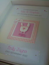Luxury Personalised New Baby Girl Card, with Swarovski crystals, boxed