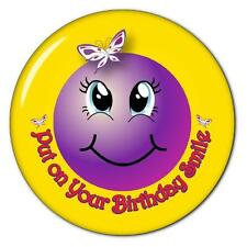 PUT ON YOUR BIRTHDAY SMILEY FACE - RED HAT PURSE MIRROR W/ ORGANZA BAG 3 INCH