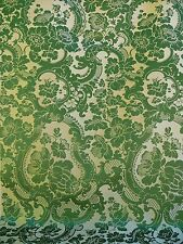 SCALAMANDRE DAVIS BROCATELLE GREEN GOLD SILK/LINEN DOCUMENTARY WHITE HOUSE BTY