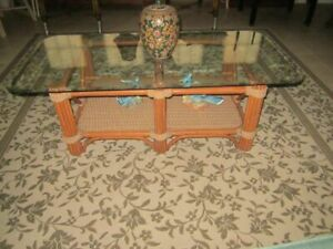Bamboo Abaca Glass Top Rectangle Coffee Table Tropical Style Honey Color