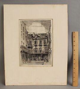 1939 Antique MORRIS HENRY HOBBS Old New Orleans Ltd Ed Etching Print, NR
