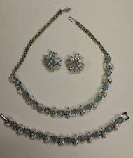 Vintage Necklace, Bracelet, Earrings Judy Lee blue moonstones, silvertone leaves