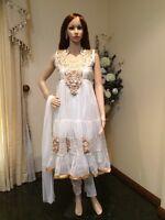 "34"" S Teenage Girls Salwar Kameez Indian Fancy Dress Kids Bollywood White Gold"